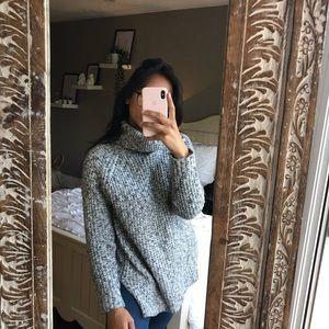 Grey knit cozy turtleneck sweater